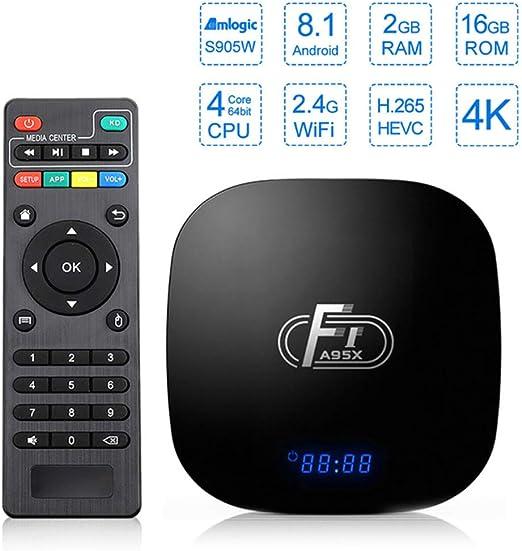 AXDNH Android TV Box, Smart Media Home Box 2 GB de RAM 16 GB de ROM de núcleo cuádruple WiFi 2.4G Ethernet USB3.0 decodificador HD 4K Red Jugador: Amazon.es: Hogar