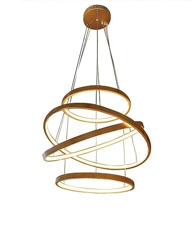 Helix - Lámpara de techo colgante en espiral LED de bambú, diseño ...