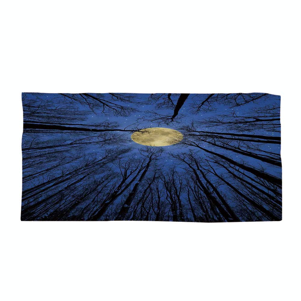 iPrint Cotton Microfiber Beach Towel,Forest Home Decor,Full Moon Illumination in Woods Star Night Heavenly Lunar Treetops Up Space Art,Blue,for Kids, Teens, and Adults