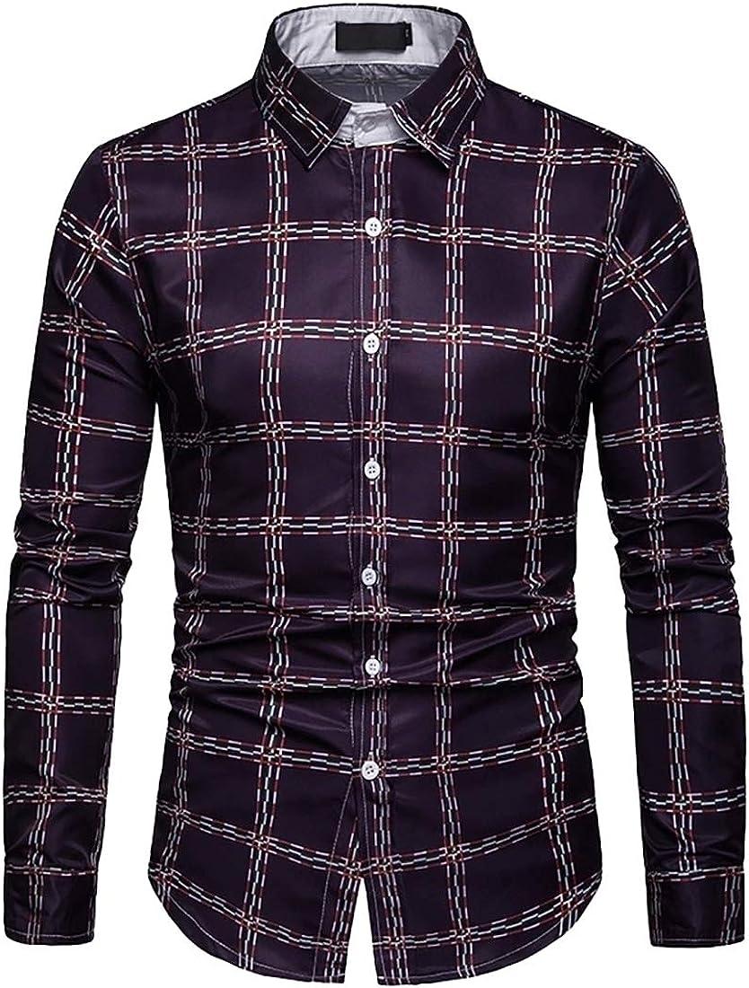 Mens Cotton Flannel Plaid Button Down Long Sleeve Dress Shirt