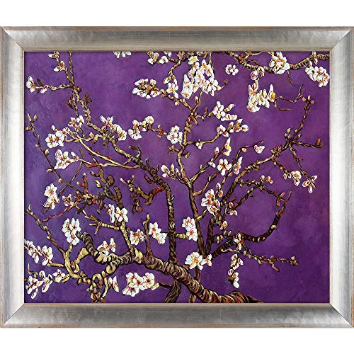 La Pastiche Branches of an Almond Tree in Blossom, Amethyst Purple Framed Oil Painting, 28