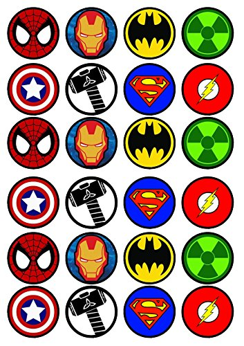 48 x Super Hero Cupcake Toppers Decorations Edible Wafer Paper Optional Pre Cut
