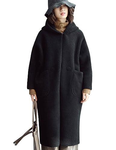 Youlee Donna Inverno Autunno Corni Buckle Cappotto di lana con cappuccio Black