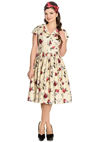 1950s Swing Dresses Hell Bunny Rosemary Floral 40s 50s Flare Dress $64.99 AT vintagedancer.com