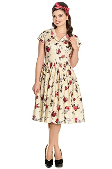 Vintage Tea Dresses, Floral Tea Dresses, Tea Length Dresses Small- Hell Bunny Rosemary Floral 40s 50s Flare Dress $71.99 AT vintagedancer.com