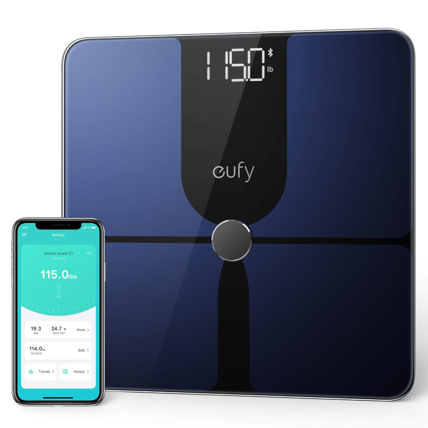 eufy Smart Scale P1 with Bluetooth, Body Fat Scale, Wireless Digital Bathroom Scale, 14 Measurements, Weight/Body Fat/BMI, Fitness Body Composition Analysis, Black/White, lbs/kg by eufy (Image #1)
