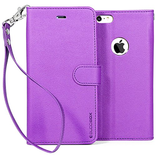 BUDDIBOX PU Leather Wallet Case with Stand for iPhone 6 Plus - Purple (Retail Packaging)