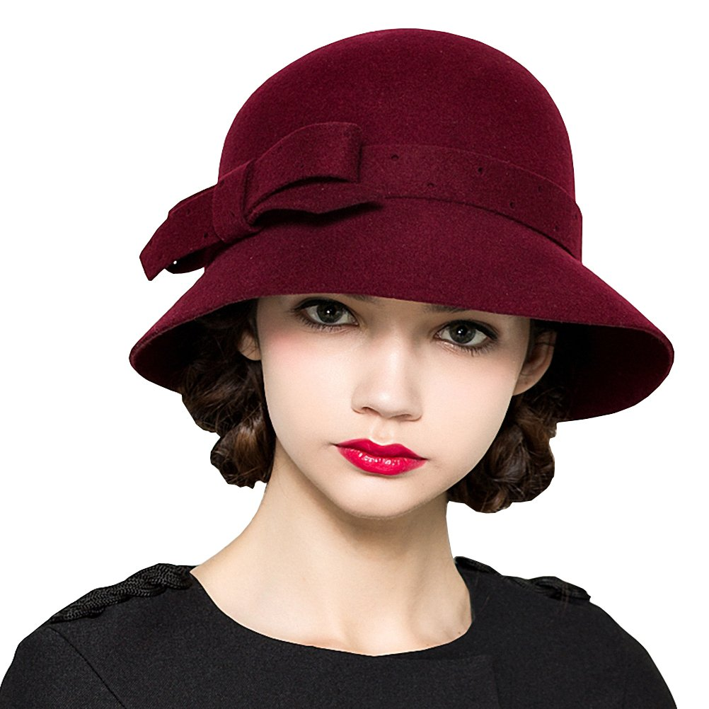 Maitose Women's Belt Flowers Wide Brim Wool Felt Bucket Hat Wine Red by Maitose