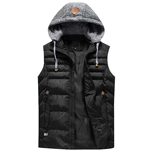 375d2a517886c Flygo Mens Plus Size Puffer Sleeveless Vest Jacket Removeable Hooded  (Large