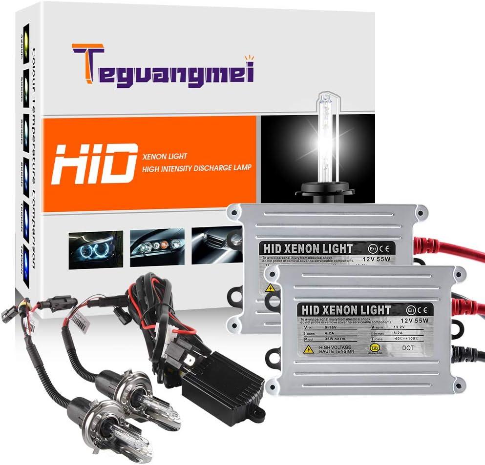 Teguangmei 2X H4 55W Coche de Kit de Conversión de Faros de Xenón HID Bombilla de Faro Blanco de Súper Brillante de 6000K + 2 Balastos HID Ultrafinos 12V