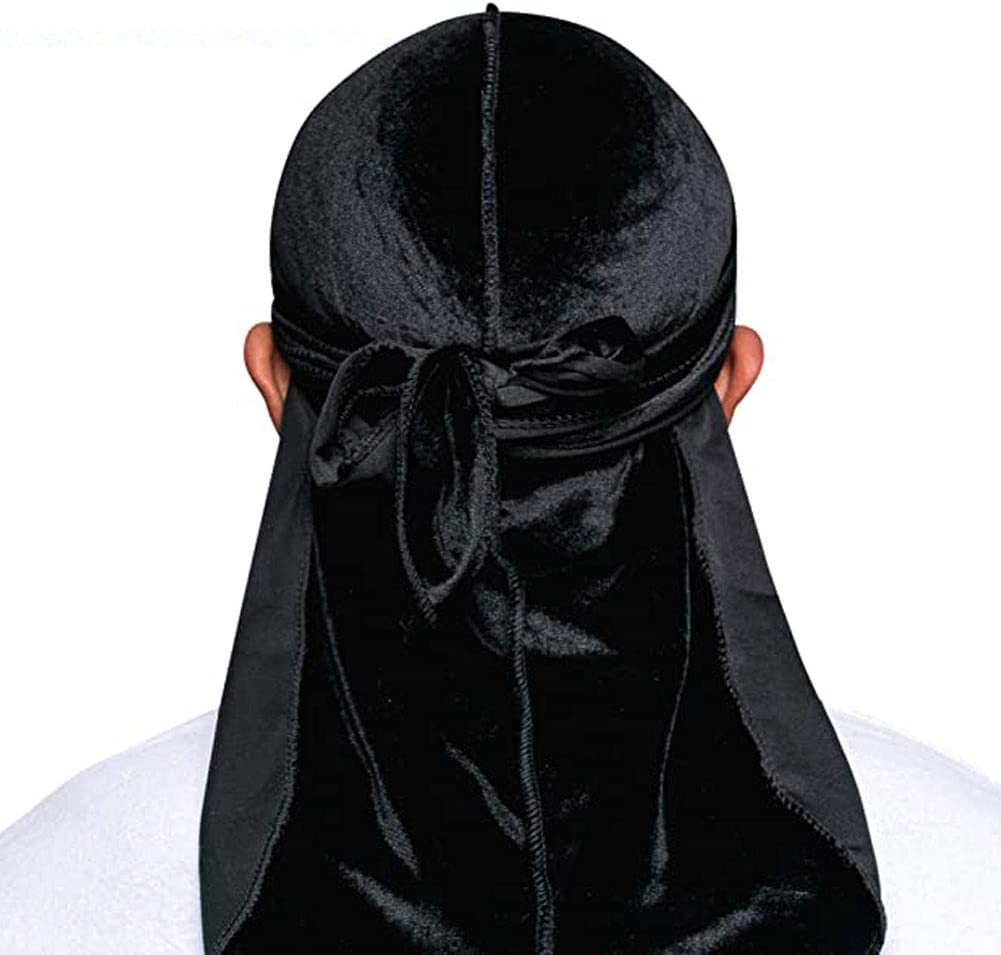 LFZY 2 Pcs Silky Durag and 2 Pcs Velvet Durag Soft Cap 360 Waves Stretchy Cap Headwraps with Long Tails and Wide Straps for Men Women
