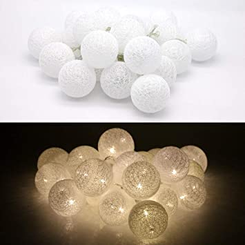 Tronje LED 20 Bolas de Algodón Luces 6cm 4h Temporizador 3,8m Guirnalda de luz Blanca cálida funciona con Pilas: Amazon.es: Bricolaje y herramientas