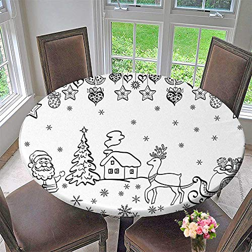 (Mikihome Chateau Easy-Care Cloth Tablecloth Tree Ornaments Santa Sleigh Rudolph Reindeer Toys Jingle Bells Hand Drawn Style Black for Home, Party, Wedding 35.5