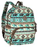 Bohemian Mint Tribal Canvas Backpack for Girls, Casual School Bag Travel Daypack