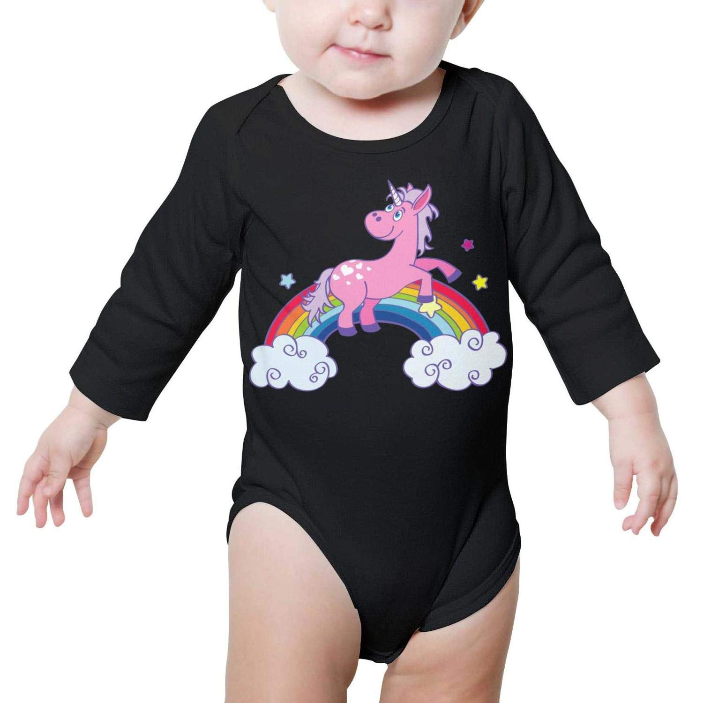 Magic and Fantastic Unicorn On Rainbow Long Sleeve Organic Baby Onesie Bodysuits Funny for Kids Boys Girls