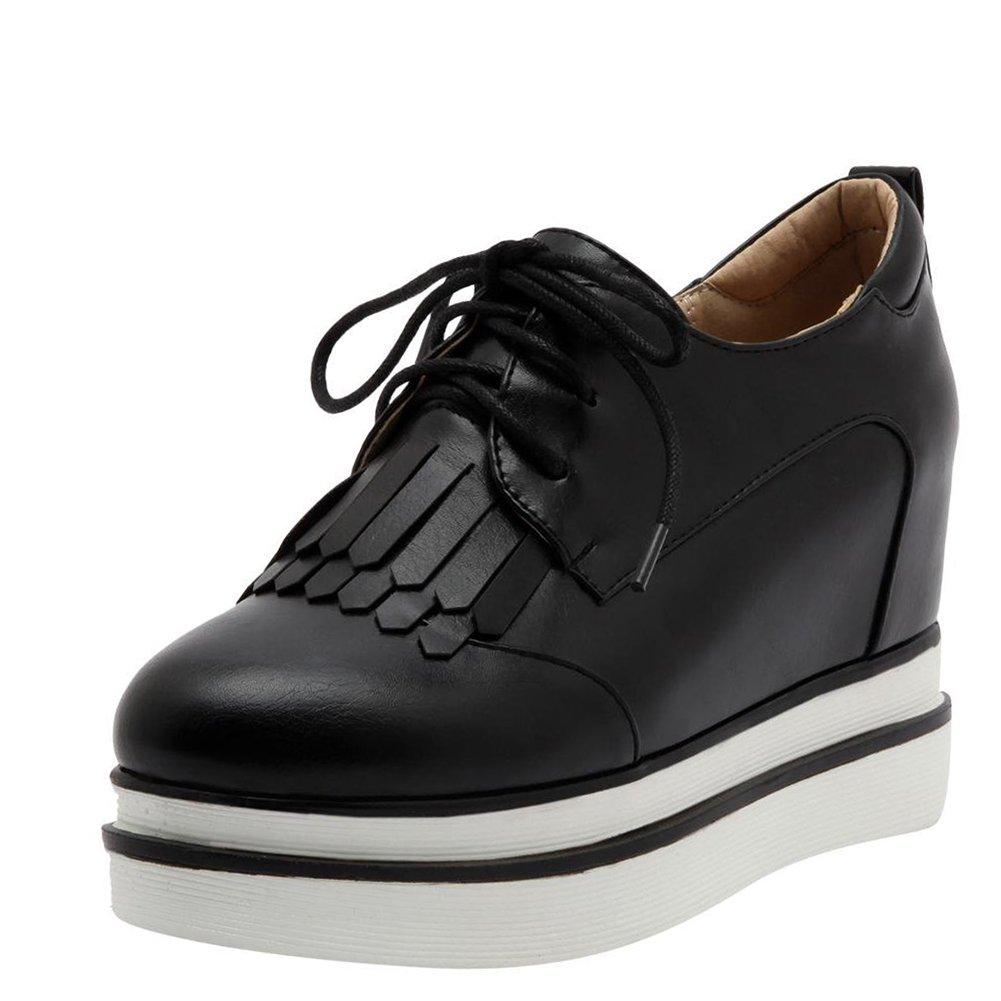 Agodor Damen Keilabsatz High Heels Pumps mit Schnuuml;rung und Plateau Moderne Schuhe36 EU|Schwarz