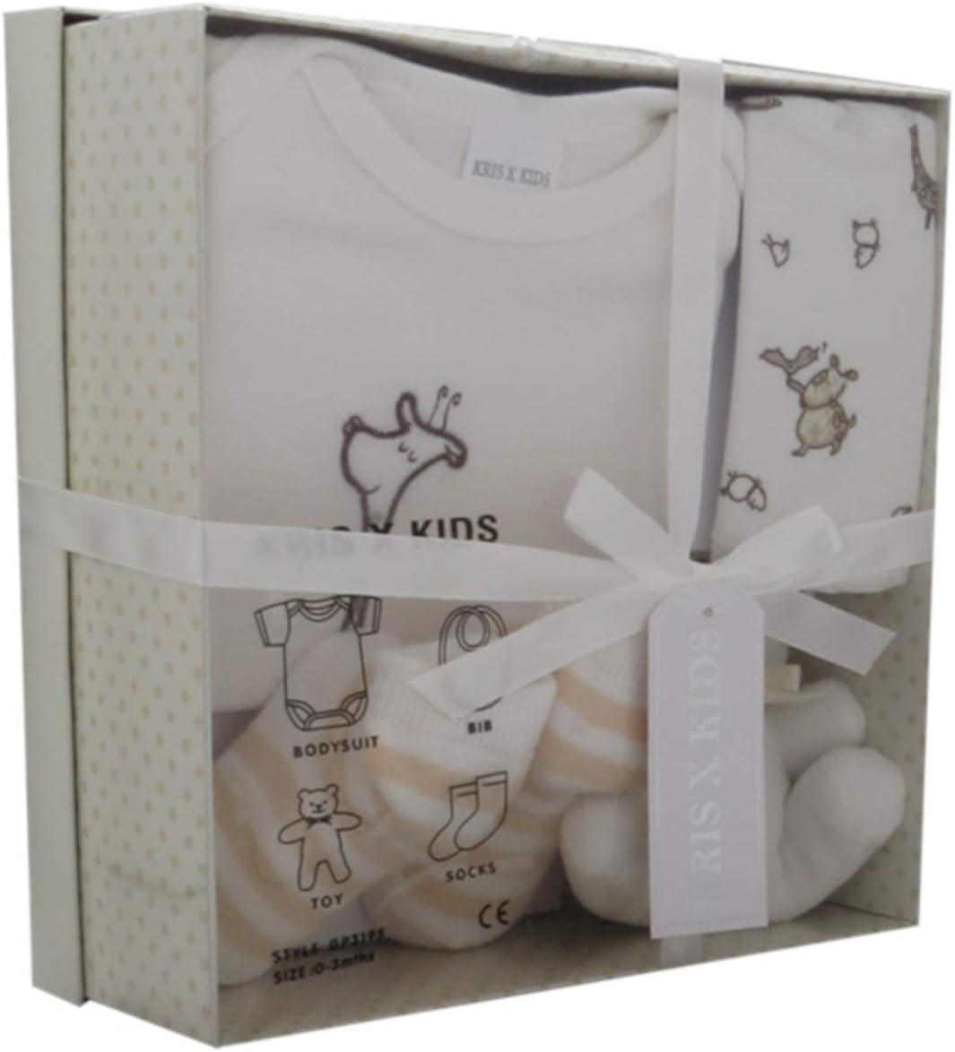 Set de regalo para recién nacidos con mono, babero, peluche y calcetines en una caja de regalo 0-3 meses. blanco crema Talla:0-3 Meses