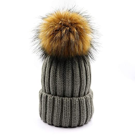Amazon.com  Kids Winter Knitted Pom Pom Beanie Cap Faux Raccoon Fur ... 5f4cbb1ac5b