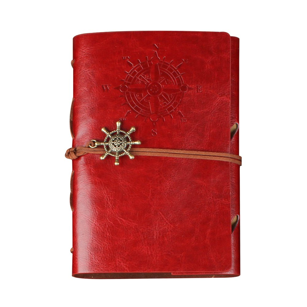 CYOS PU Leather Vintage Journal Diary Best Retro Soft Spiral Bound Leather Cover Notebook Travel Diary Loose Leaf Journal Blank 6 Ring Binder Planner (Red)