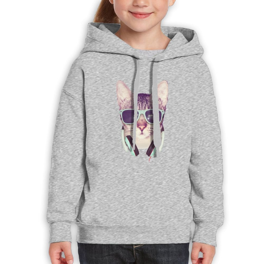 Fashion Unisex Sweatshirts,Comfortable Cat Glass Music Cotton Hoodies Pullover For Child
