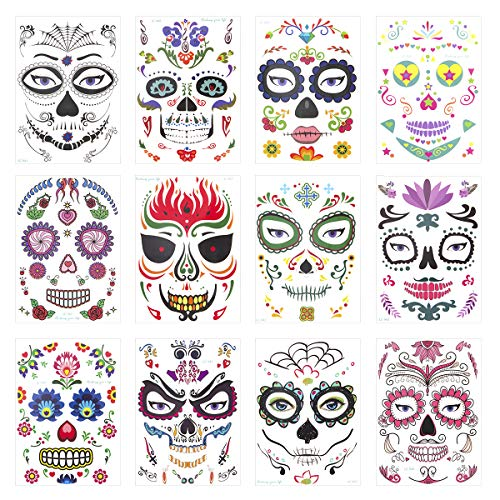 Dead Looking Makeup Halloween (Mewtogo 12Pcs Halloween Sugar Skull Temporary Face Tattoo- Day of The Dead Sugar Skull Floral Black Web Red Roses Full Face Mask Tattoos for Kids Adult Halloween Masquerade Party Favors)