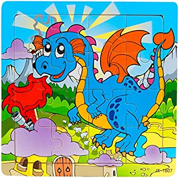 Tiny Souls Wooden Puzzle Blue Dragon with Fire