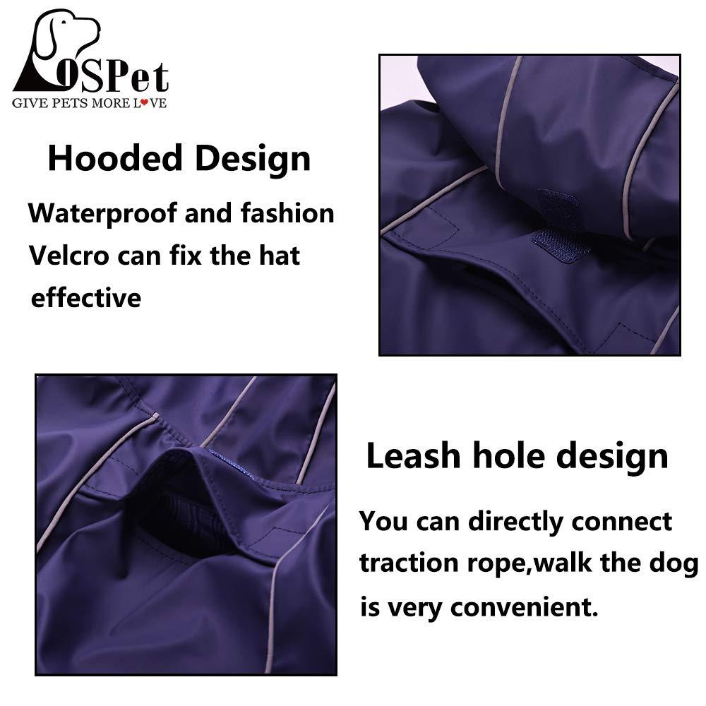 OSPet Dog Raincoat Waterproof Windproof Lightweight Dog Coat Jacket Reflective Rain Jacket with Hood Vest Harness for Small Medium Large Dogs by OSPet (Image #4)
