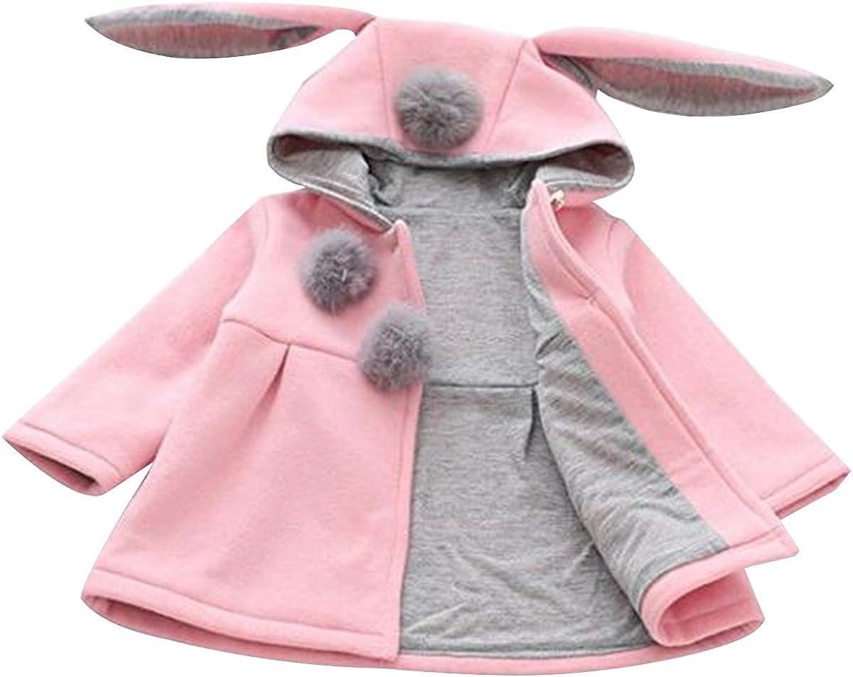 Bai You Mei Baby Girls Toddler Kids Rabbit Ear Winter Cotton Warm Jacket Coat