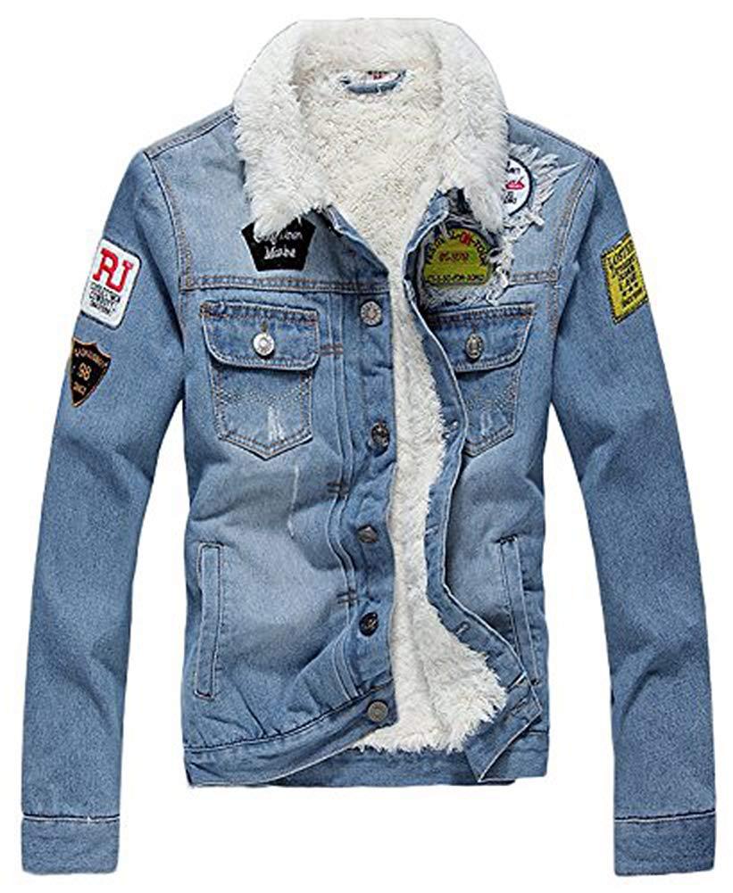 AvaCostume Men's Winter Fleece Lined Patch Denim Jacket Coats, Light Blue X-Large by AvaCostume