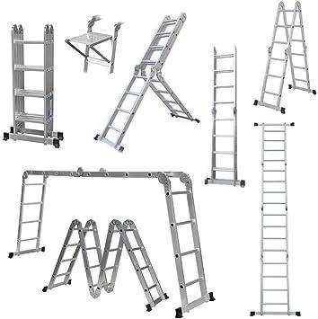 GABZ - Escalera plegable de aluminio multiusos, fabricada según las especificaciones EN131, plateado: Amazon.es: Bricolaje y herramientas