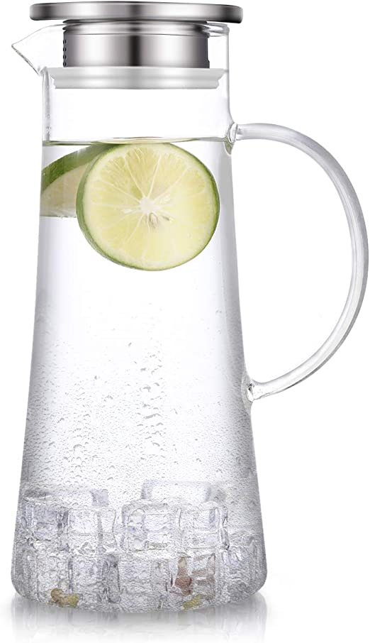 Amazon.com: 1,5 litros jarra con tapa de vidrio de 51 ounces ...