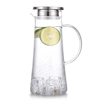 1.5 Liter 51 Ounces Glass Pitcher With Lid Covered Gallon Iced Tea Pitcher Lidded Water Jug Hot Cold Water Ice Tea Wine Coffee Milk And Juice Beverage Carafe by Suteas
