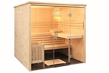 Sauna mit Glasfront Massivholz 208 x 206 x 204 cm Blockbohle ...