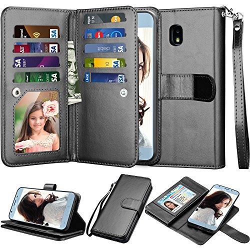 Njjex Wallet Case For Galaxy J7 2018/J7 Refine/J7 V 2nd Gen/J7 Aero/J7 Aura/J7 Top/J7 Crown/J7 Eon/J7 Star, PU Leather Card Slots Holder Kickstand Flip Cover Case & Lanyard For Samsung J7 Star [Black]