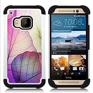 """HTC One M9 /M9s / One Hima - 3 en 1 impreso colorido de Altas Prestaciones PC Funda chaqueta Negro cubierta gel silicona suave (La caída del otoño púrpura Naturaleza"""")"""