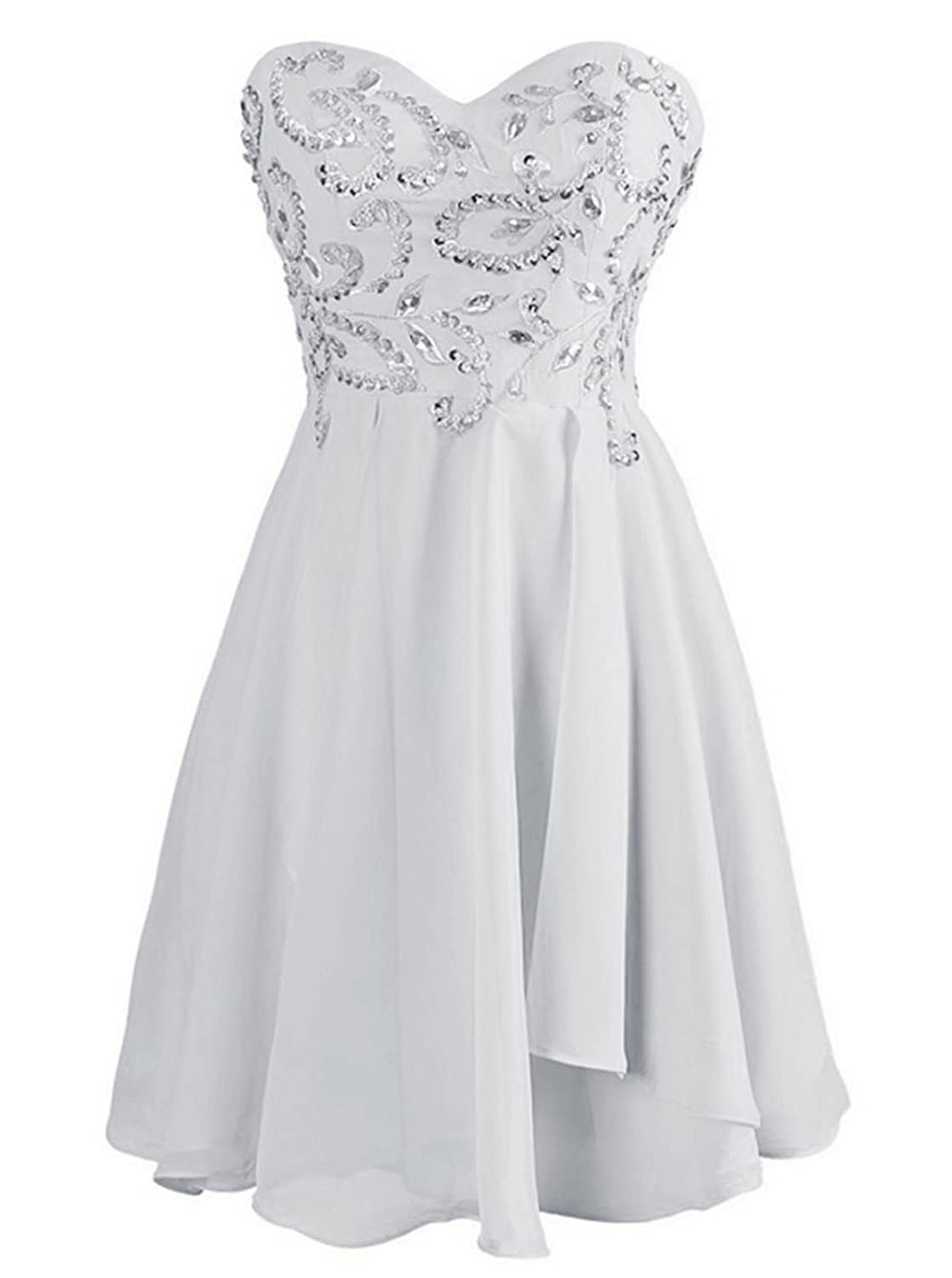 Poplarboy Sweetheart Sequins Prom Gown Short Bridesmaid Homecoming Dress
