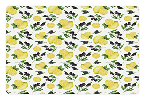 Kitchen Pet Mats for Food and Water by Lunarable, Watercolors Painted Pattern of Olives and Lemons Healthy Mediterranean Food, Rectangle Non-Slip Rubber Mat for Dogs and Cats, Yellow Black Green - Rectangle Olive Rug