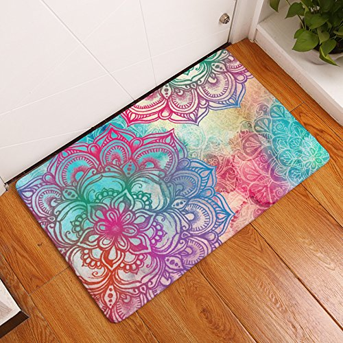 AILOVYO Indian Psychedelic Mandala Hippie Bohemian Flannel Non Slip Entry  Way Floor Mat Outdoor Indoor Decor Rug Doormats, 15.7 Inch X 23.6 Inch
