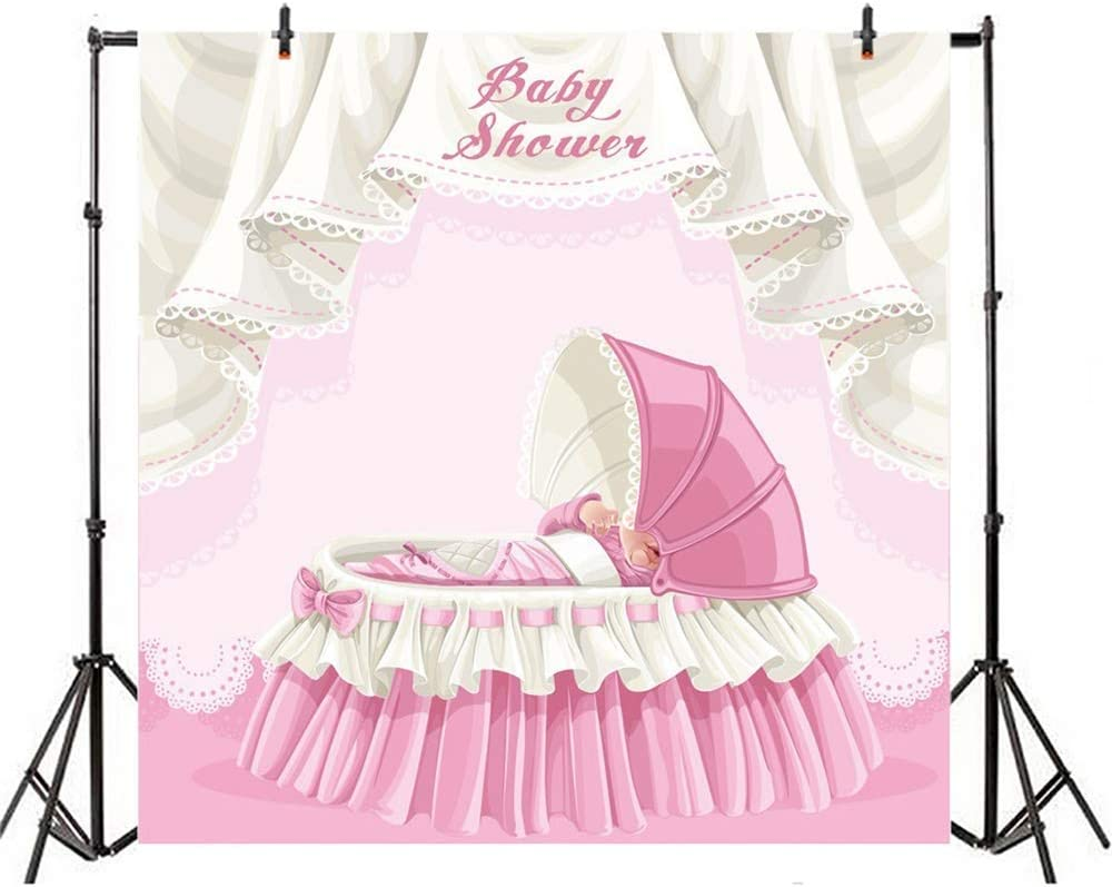 8x8ft Cartoon Girl Baby Shower Backdrop Polyester Pink Princess Crib Sleeping Baby Girl Scene Background Girl Baby Shower Birthday Party Banner Child Baby Girl Shoot Welcome Little Princess