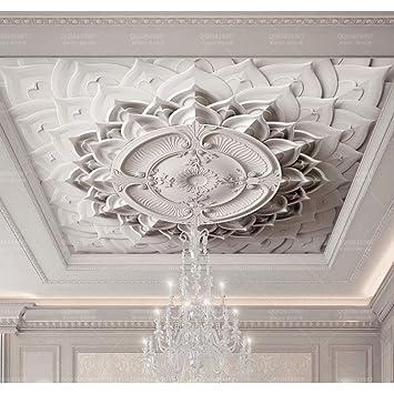 BIZHIGE Plâtre Blanc 3D Papier Peint De Plafond pour Salle De Séjour ...