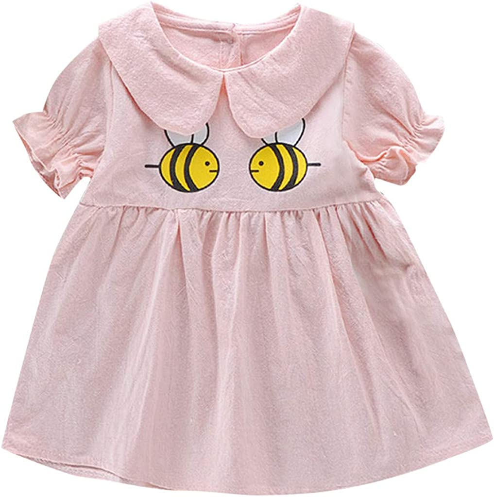 PENATE Baby Girls Summer Short Sleeve Dress Cartoont Bee Print Causal Party Sundress