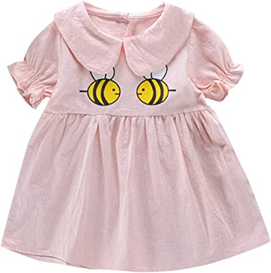 Dsood Cute Baby Dress Kids Cotton Dresses Baby Casual Dress Girls Cute Cartoon Dress Toddler Ruched Patchwork