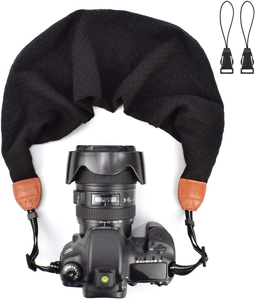 LIFEMATE Scarf Camera Strap,DSLR Camera Strap Universal Neck Strap,Fabric of Bohemia Floral Scarf Camera Strap (Black)