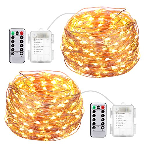 AMIR Fairy String Lights, 2 Pack 16.4ft 50 Led Starry Lights with Remote Control, 8 Modes Waterproof Decorative Lights Battery Operated for Garden Wedding Christmas (Battery Not Included)