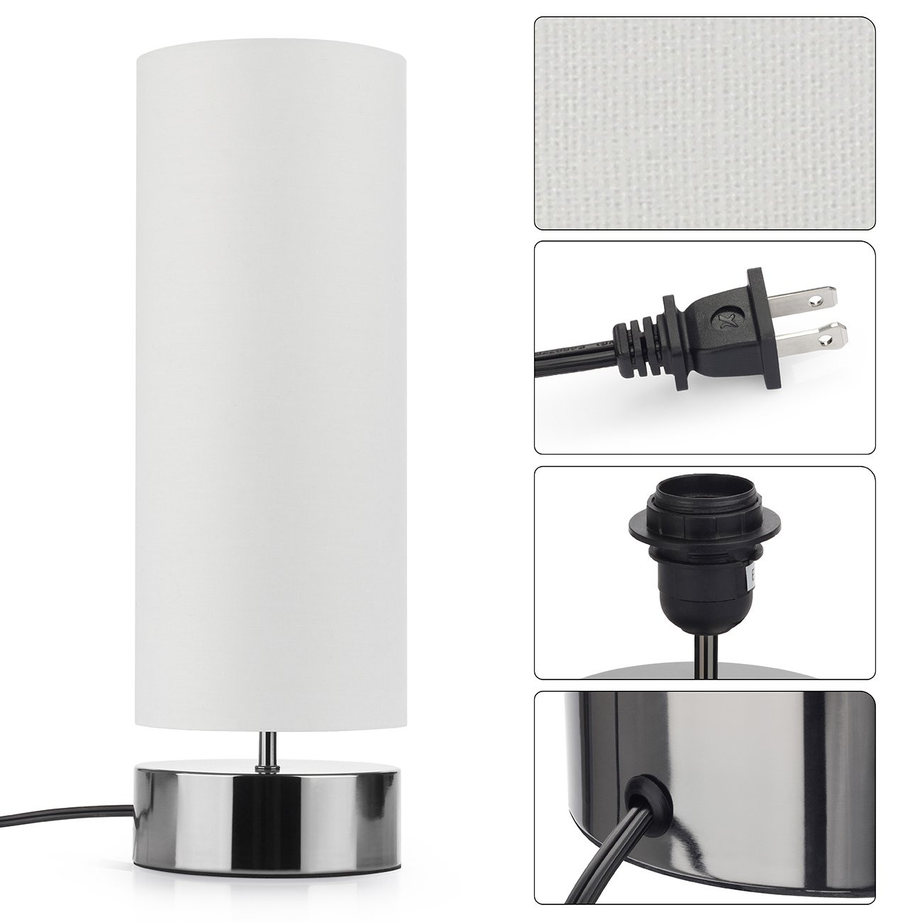 Touch Control Table Lamp Bedside Minimalist Desk Lamp Modern Accent Lamp Dimmable Touch Light with Cylinder Lamp Shade Night Light Nightstand Lamp for Bedroom Living Room Kitchen, E26 Bulb Included by Seaside village (Image #7)
