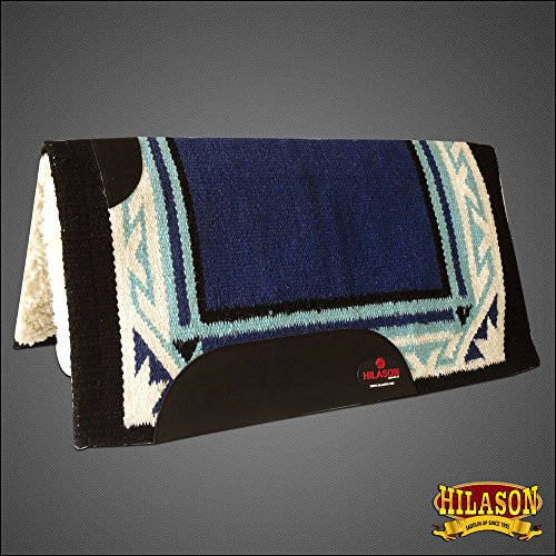 HILASON Made in USA Western Wool Shock Buster Saddle Blanket PAD Blue White