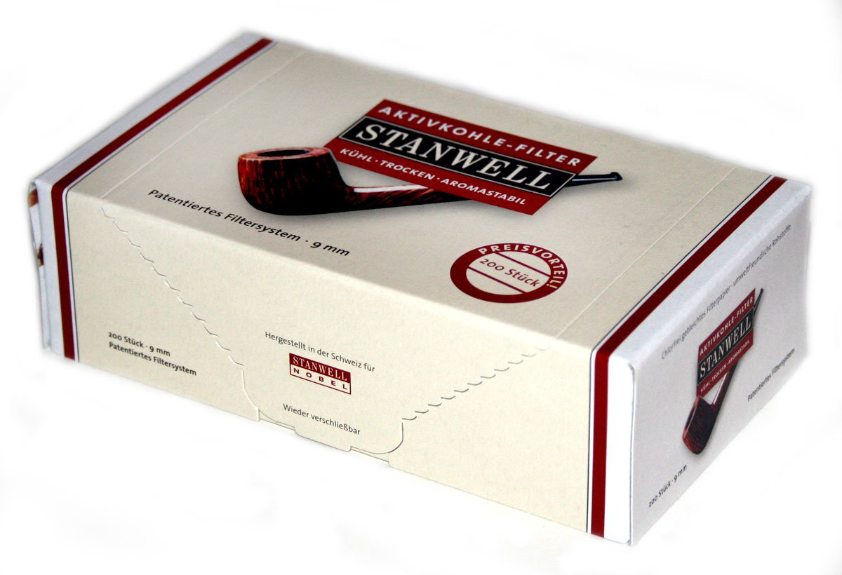 Stanwell 9mm Active Charcoal Pipe Filter Box of 200 Filters by Stanwell