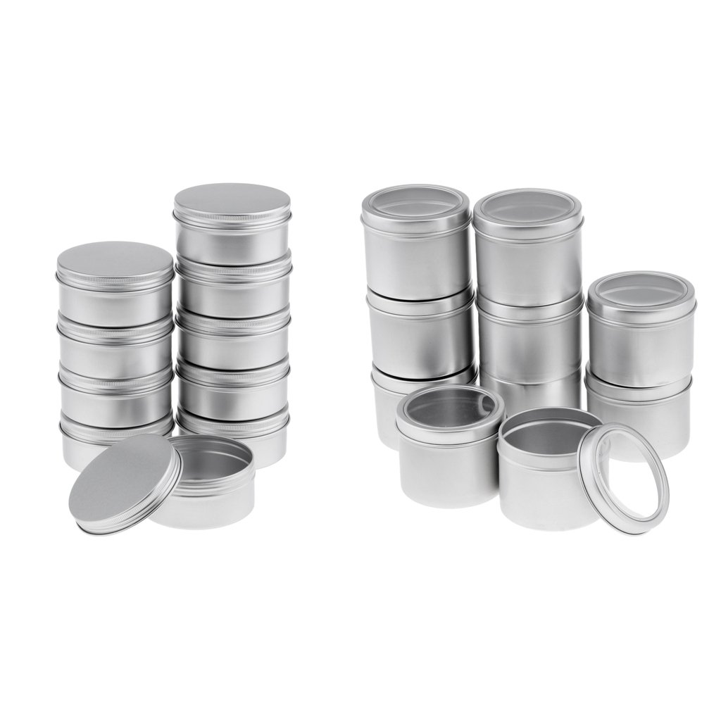 Baoblaze 20pcs 100ml,150ml Refillable Silver Round Empty Aluminum Metal Tin Mini Jar Container with Screw Cap Lid for Candle, Beauty, Skincare, Cosmetics, Make Up, Balm, Salves