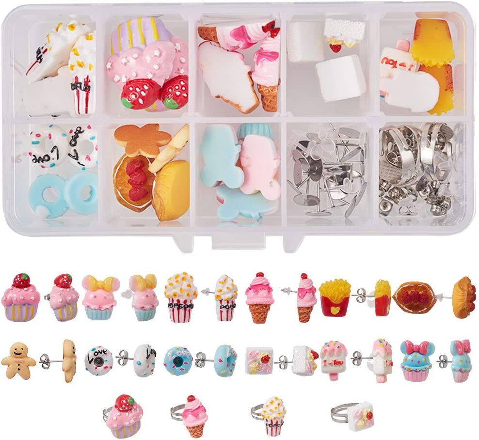 SUNNYCLUE 1 Box 110pcs Mixed Dessert Theme Food Resin Flatback Cabochon Stud Earrings Rings Making Kit - DIY Make 12 Pairs Stud Earrings & 4pcs Rings