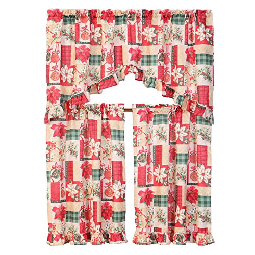 Kashi Home 3 Piece Christmas Decorative Kitchen Curtain Set, Ruffled Swag Valance & Tiers (Christmas Gift)